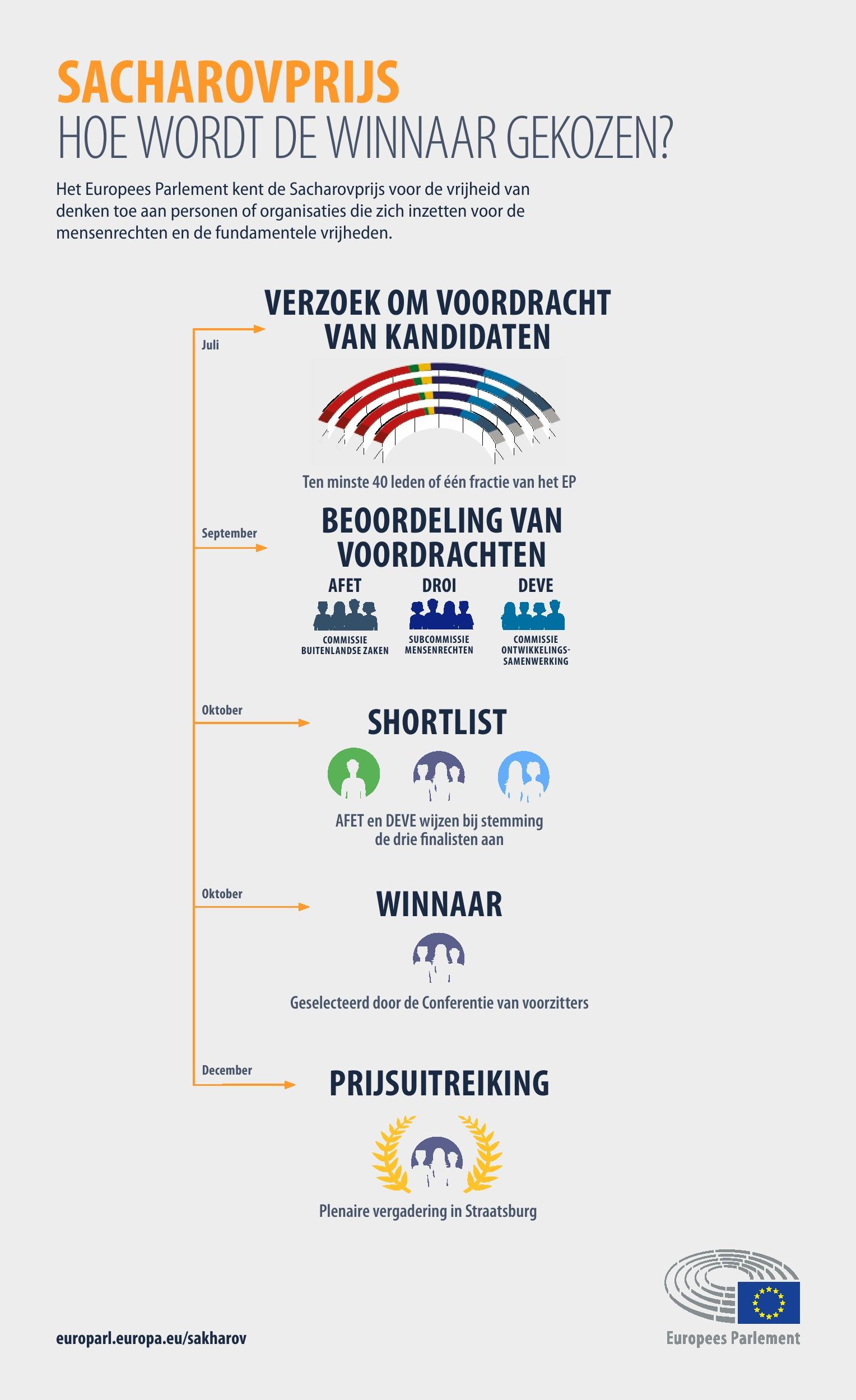 Infografiek: Hoe wordt de winnaar van de Sacharovprijs gekozen?