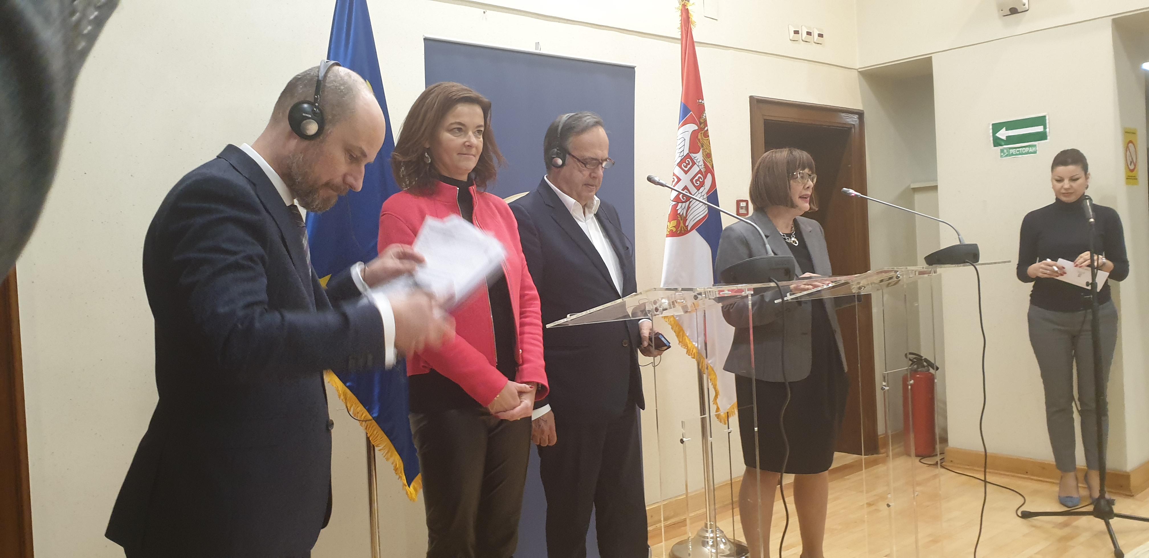 Vladimir Bilcik, Tanja Fajon, Knut Fleckenstein and Maja Gojcic at press conference
