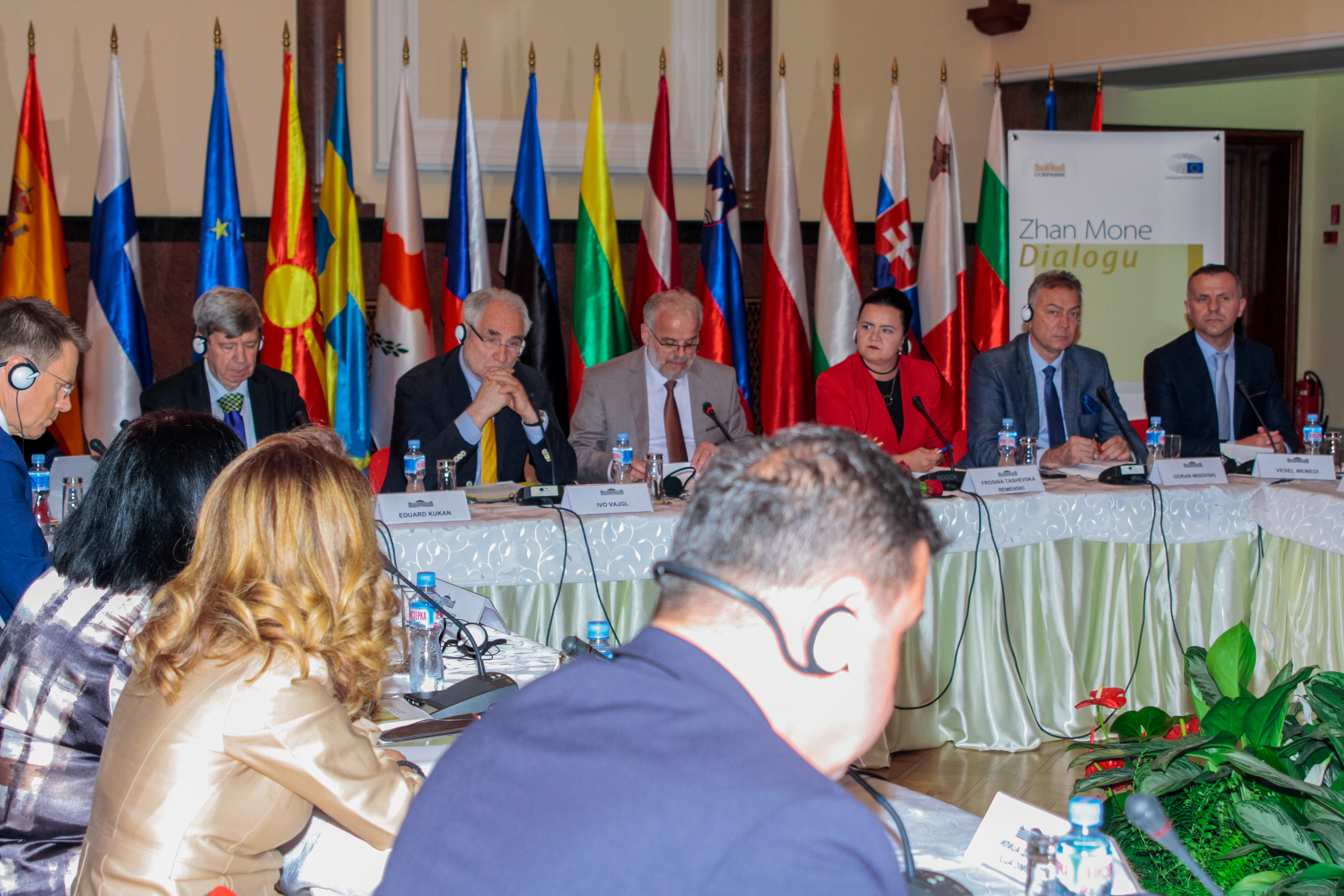 Photo of the political groups leadership during the Jean Monnet Dialogue