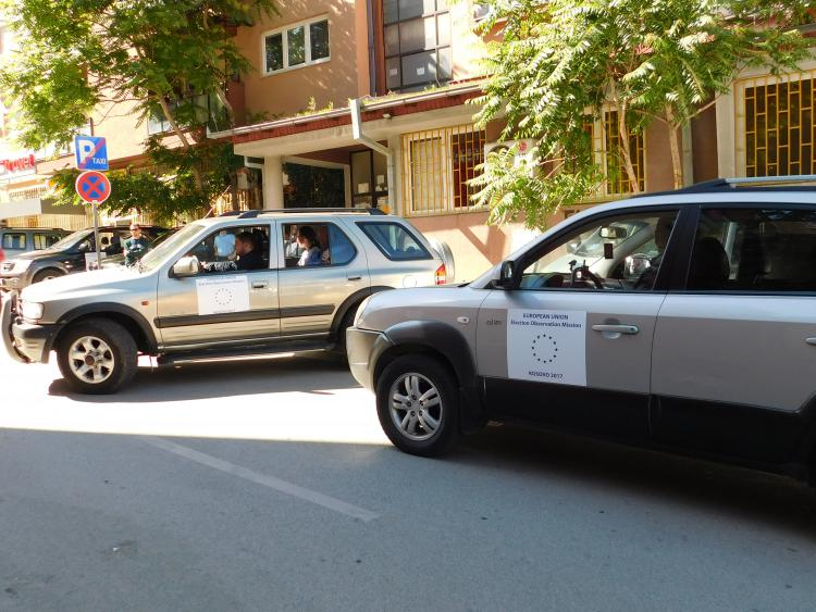 Cars in Kosovo transporting EU election observers