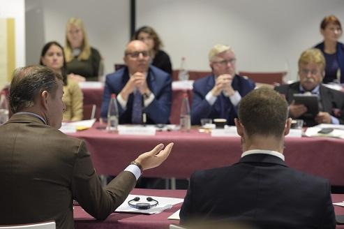 Speaker Andriy Parubiy, Lead MEP Elmar Brok and former EP President Pat Cox et the Jean Monnet Dialogue meeting