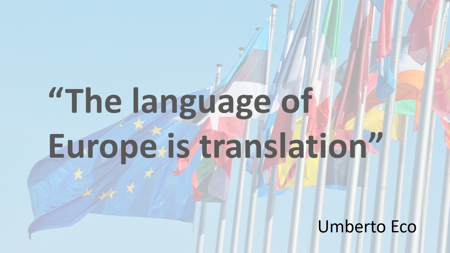 Umberto Eco's quotation 'The language of Europe is translation' with the European flag and some national flags in the background