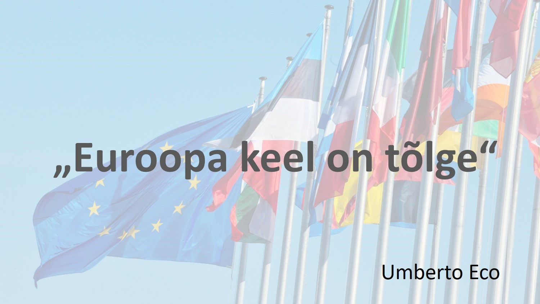 """Umberto Eco tsitaat """"Euroopa keel on tõlge"""", taustaks Euroopa Liidu lipp ja mõned liikmesriikide lipud"""